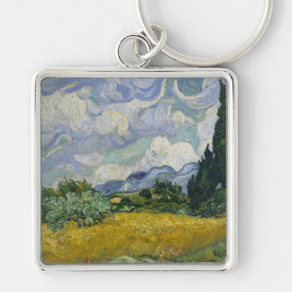 Wheat Field with Cypresses by Vincent van Gogh Keychain