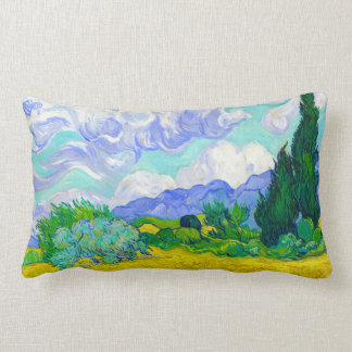 Wheat Field with Cypresses by Vincent Van Gogh Lumbar Pillow