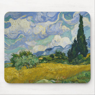 Wheat Field with Cypresses by Vincent van Gogh Mouse Pads