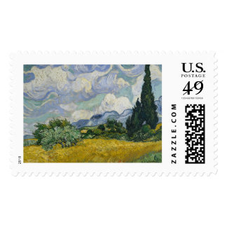 Wheat Field with Cypresses by Vincent van Gogh Stamp