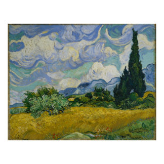 Wheat Field with Cypresses by Vincent van Gogh Poster