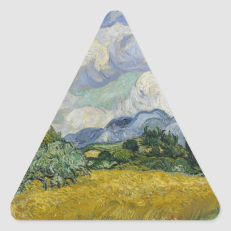 Wheat Field with Cypresses by Vincent van Gogh Triangle Sticker