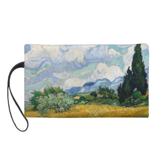 Wheat Field with Cypresses by Vincent Van Gogh Wristlet Purse