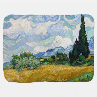 Wheat Field with Cypresses by Vincent Van Gogh Baby Blankets