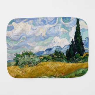 Wheat Field with Cypresses by Vincent Van Gogh Baby Burp Cloths