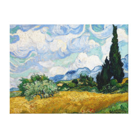 Wheat Field with Cypresses Canvas Gallery Wrap Canvas