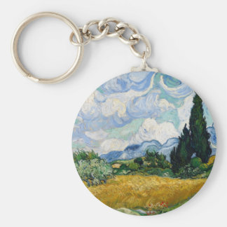 Wheat Field with Cypresses Keychain