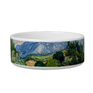 Wheat Field with Cypresses Pet Bowl