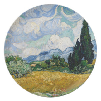 Wheat Field with Cypresses Plate