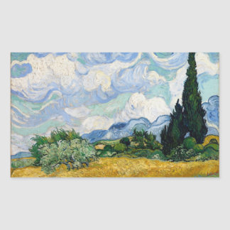 Wheat Field with Cypresses Rectangle Sticker
