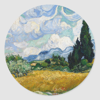 Wheat Field with Cypresses Round Sticker