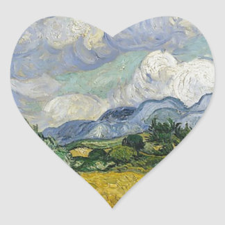 Wheat Field with Cypresses (starry night -esque) Heart Sticker