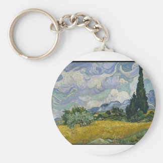 Wheat Field with Cypresses (starry night -esque) Keychain