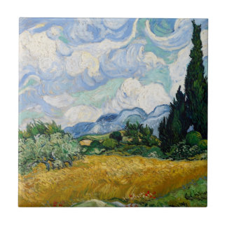Wheat Field with Cypresses Tile
