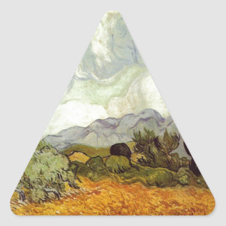 Wheat Field with Cypresses Triangle Sticker