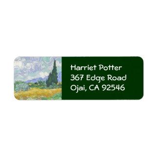 Wheat Field with Cypresses Van Gogh Fine Art Label