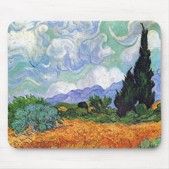 Wheat Field with Cypresses Van Gogh Fine Art Mouse Pad