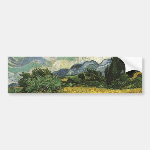 Wheat Field with Cypresses,Vincent Van Gogh Bumper Stickers