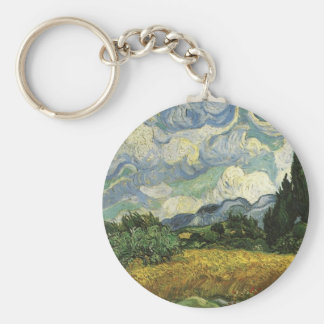 Wheat Field with Cypresses,Vincent Van Gogh Keychain