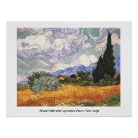 Wheat Field with Cypresses,Vincent Van Gogh Posters