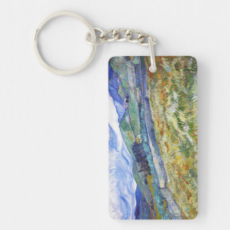 Wheat Field with Mountains in the Background Double-Sided Rectangular Acrylic Keychain