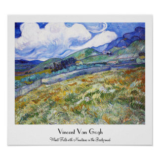 Wheat Field with Mountains in the Background Print