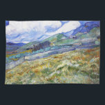 """Wheat Field with Mountains in the Background Towel<br><div class=""""desc"""">Wheat Field with Mountains in the Background Van Gogh Vincent cool,  old,  master,  masterpiece,  fine,  retored,   impressionism,  pain,  painting,  vibrant,  saturated,  colour,   beautiful,  nice,  quality,  high,  resolution,  landscape,  scenery,   post,  decoration,  colors,  paris,  france</div>"""