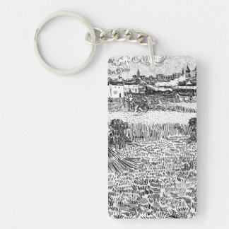 Wheat Field with Sheaves and Arles Vincent Gogh Keychain