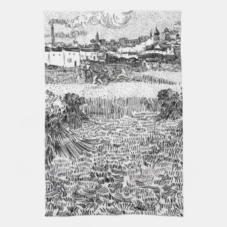 Wheat Field with Sheaves and Arles Vincent Gogh Kitchen Towel