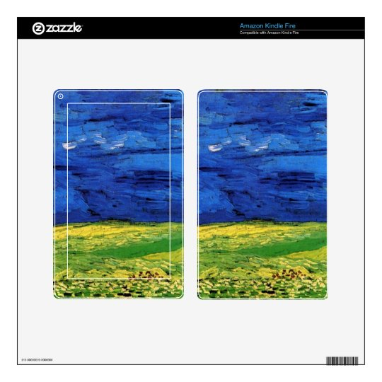 Wheat Fields Under Clouded Sky Van Gogh Decal For Kindle Fire
