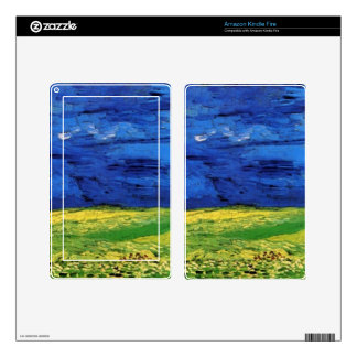 Wheat Fields Under Clouded Sky Van Gogh Kindle Fire Decal