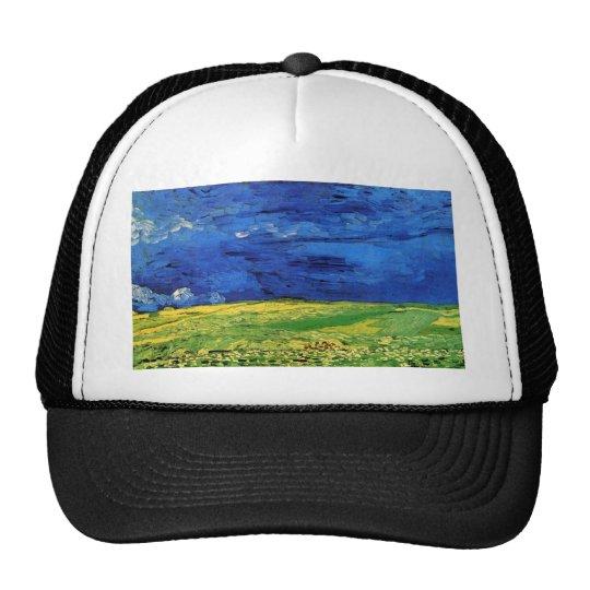 Wheat Fields Under Clouded Sky Van Gogh Trucker Hat