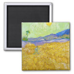 Wheat Fields with Reaper at Sunrise Van Gogh 2 Inch Square Magnet