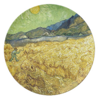 Wheat Fields with Reaper at Sunrise - Van Gogh Dinner Plate