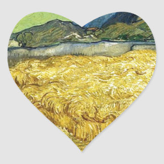 Wheat Fields with Reaper at Sunrise - Van Gogh Heart Sticker