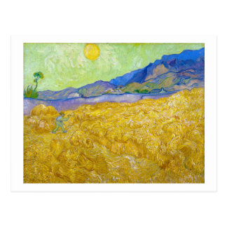Wheat Fields with Reaper at Sunrise Van Gogh Postcard