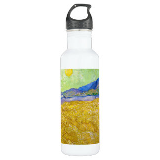Wheat Fields with Reaper at Sunrise Van Gogh Water Bottle