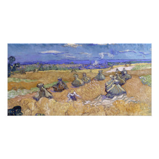 Wheat Fields with Reaper by Vincent Van Gogh Card