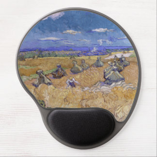 Wheat Fields with Reaper by Vincent Van Gogh Gel Mousepad