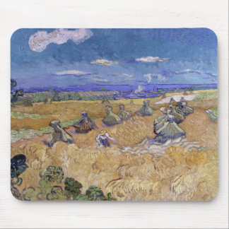 Wheat Fields with Reaper by Vincent Van Gogh Mousepads