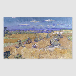 Wheat Fields with Reaper by Vincent Van Gogh Sticker