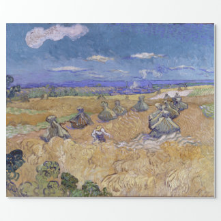 Wheat Fields with Reaper by Vincent Van Gogh Wrapping Paper
