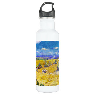 Wheat Fields with Reaper  Van Gogh Vincent Stainless Steel Water Bottle