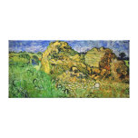 Wheat Fields with Stacks, Vincent van Gogh. Stretched Canvas Print