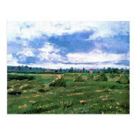 Wheat Fields with Stacks, Vincent van Gogh Post Card
