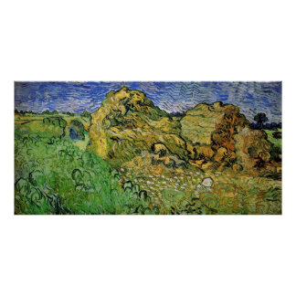 Wheat Fields with Stacks, Vincent van Gogh Poster