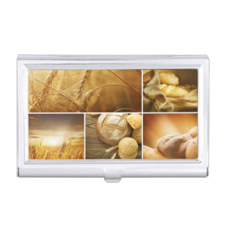 Wheat.Harvest concepts.Cereal collage Business Card Case