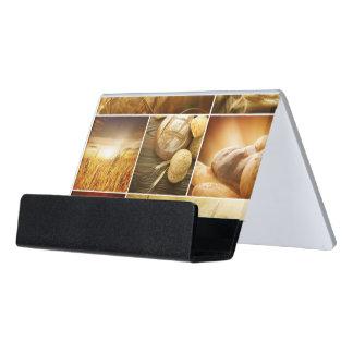 Wheat.Harvest concepts.Cereal collage Desk Business Card Holder