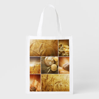 Wheat.Harvest concepts.Cereal collage Reusable Grocery Bag