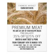Wheat in Field, Farmer & Butcher Advertising Flyer